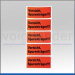 """Etiketten """"Vorsicht Spurenträger"""", leuchtrot"""