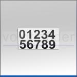 Zahlenetiketten 0 - 9, schwarz, selbstklebend, mit Applikationsfolie