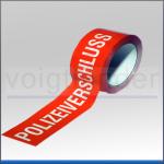 """Barricade Tape red/white, with legend """"""""Unter Polizeiverschluss"""", 50mm x 66m"""