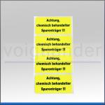 """Etiketten """"Achtung chemisch behandelter Spurenträger""""  leuchtgelb"""