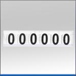 Zahlenetiketten 0-9, weiß m. Ziffer schwarz, 40mm (H)