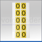 Zahlenetiketten 0 - 9, Vinyl gelb