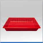 Laborschale, ohne Bodenrillen rot